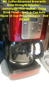 COFFEE MAKER - Mr. Coffee JWX36-RB Advanced Brew 12-Cup Programmable - Red  =  20,000-c
