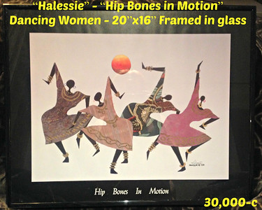 """Halessie"" - ""Hip Bones in Motion"" - Dancing Women - 20""x16"" Framed in glass  =  30,000-c"