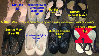 7 pairs of LADIES SHOES in Size 10 (1 size 9-1/2•41) - 5,000-c each or 7 pair 28,000-c - OR - ____??