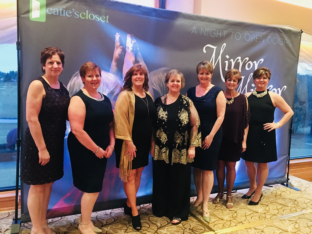 . Catie�s Angels, from left, Ellen Andre of Chelmsford, Lynne Baril of Dracut, Marian Silk of Lowell, Mickey Cockrell and Anne-Marie Sousa (founder, president and Catie�s mom), both of Tyngsboro, Denise Trombly of Hudson, N.H., and Laura Bisson of Nashua