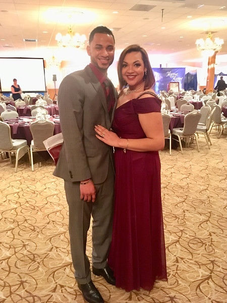 Guest speaker and a past recipient of Catie's Closet, the beautifully dressed Alexandra Del-Villar with Marlon Del-Villar of Lowell