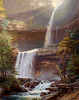 Does this look familiar?  Think Hudson River School.   It's Thomas Cole's 1826  oil painting of Kaaterskill Falls.  At the time that he painted it, there were viewing structures, now removed.  Maybe that's how he got this angle.  Still -- some of the rocks look the same as the ones we saw.  Comment:  Unlike photos, oil paintings aren't plagued with flare and purple fringies when the sun is coming right at them.  Then again, painters didn't exactly have it easy.