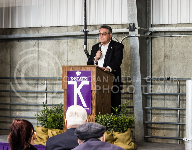 Dr. John Floros, dean of the college of agriculture, speaks to people in attendance of the new purebred beef unit dedication on March 3, 2017. (Regan Tokos | The Collegian)