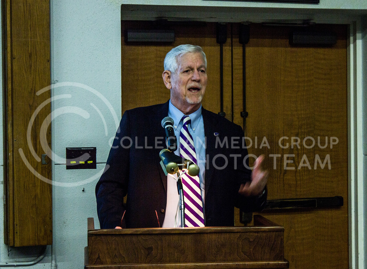 Richard B. Myers, president of Kansas State University, speaks to attendees of the 104th annual Cattleman's Day in 123 Weber Hall on March 3, 2017. (Regan Tokos | The Collegian)