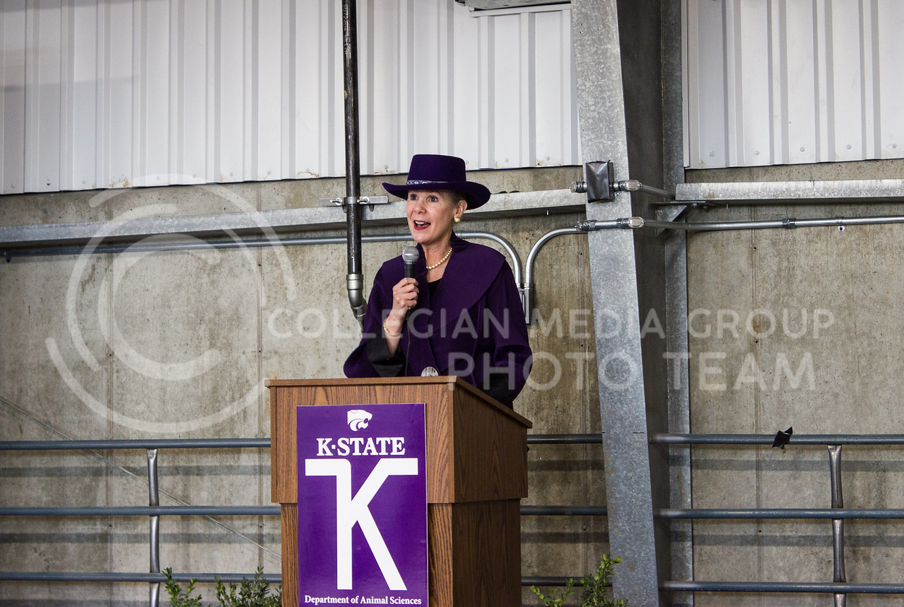 Dr. April Mason, provost and senior vice president of Kansas State University, speaks to people in attendance of the new purebred beef unit dedication on March 3, 2017. (Regan Tokos   The Collegian)