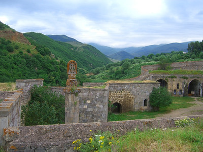 Tatev Monastery Against the Hills - Tatev, Armenia