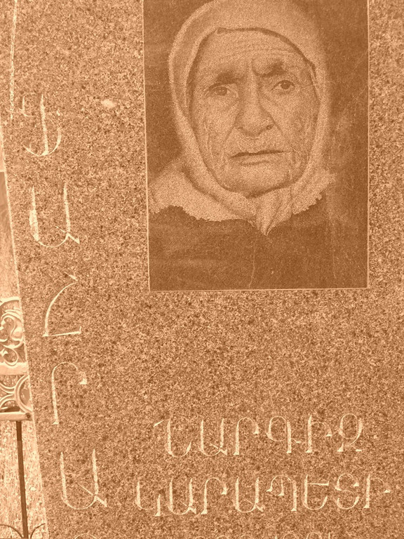 Image of Grandma on Tomb - Yerevan, Armenia