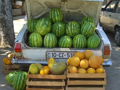 Ripe Melons at Taza Bazaar - Baku, Azerbaijan