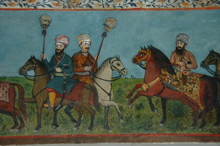 War Scenes Painting at Khan's Palace- Sheki, Azerbaijan