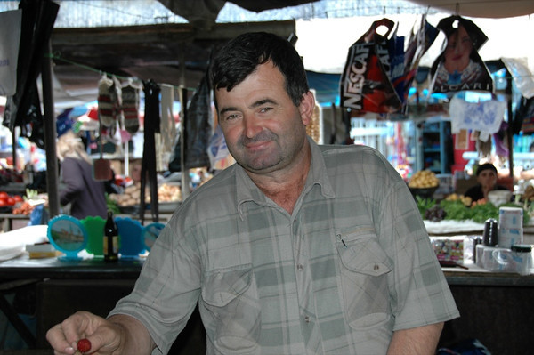 Man with Strawberry at Telavi Market - Kakheti, Georgia