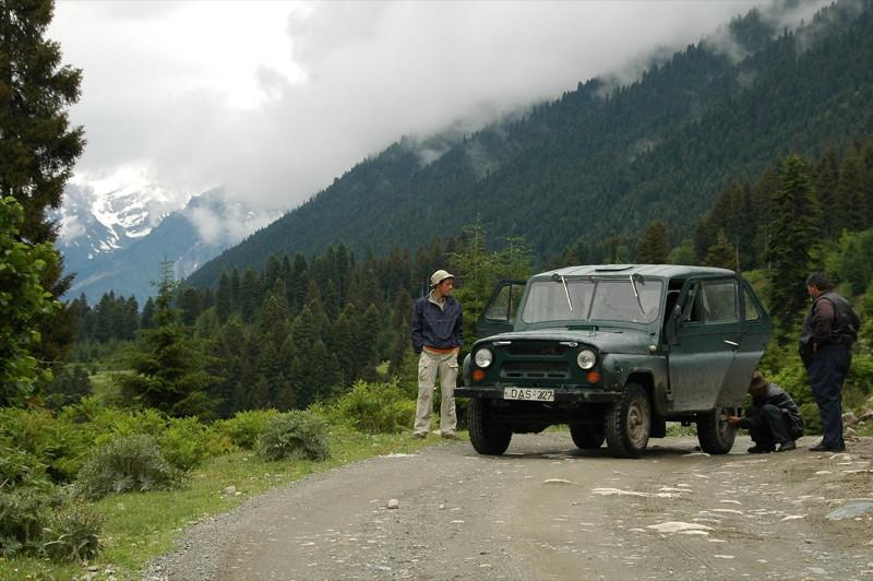 Jeep and Flat Tires - Svaneti, Georgia