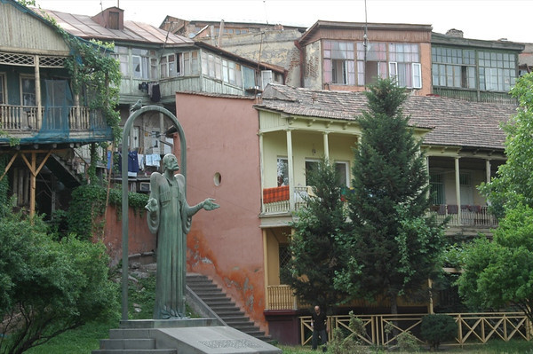 Buildings and a Statue - Tbilisi, Georgia