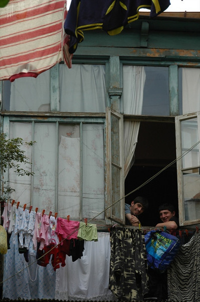 Boys Watching their Laundry - Tbilisi, Georgia