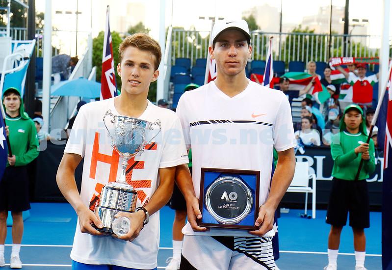 28-1-17. Australian Open 2017. Junior Boys final. Yshai Oliel with runners up trophy. photo: peter haskin