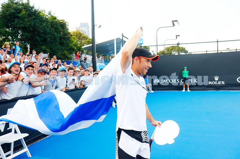 16-1-17. Australian Open. Round 1 Mens Singles. Dudi Sela (ISR) def Marcel Granollers (ESP) 5-7 6-3 6-2 6-0. Photo: Peter Haskin