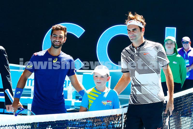 18-1-17. Australian Open. Mens round 2. Noah Rubin lost to Roger Federer 5-7 3-6 6-7. Photo: Peter Haskin