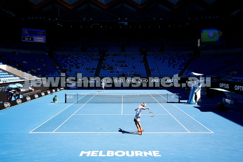 27-1-17. Australian Open 2017. Junior Boys semi final. Yshai Oliel serving on Margarat Court Arena.. Photo: Peter Haskin