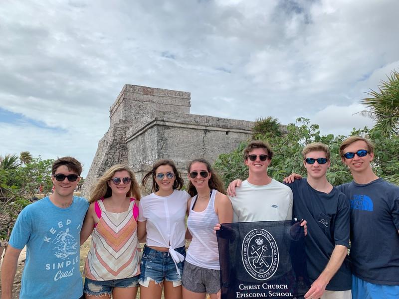 Ric Philpot, Camille Hollis, Mary Philpot, Sara Grace Sierra, Mac Ridgeway, William Heidtman, and Hayden Brown in Tulum, Mexico.