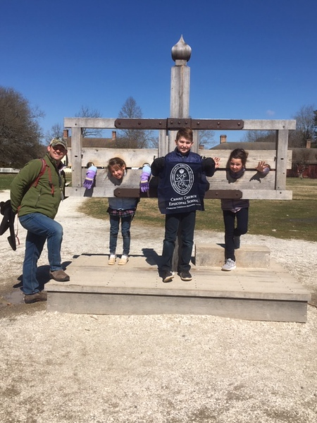 The Greco family in Williamsburg, Va. at the stocks outside of Williamsburg Courthouse.