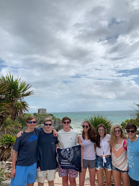 Hayden Brown, William Heidtman, Mac Ridgeway, Sara Grace Sierra, Mary Philpot, Camille Hollis, and Ric Philpot in Tulum, Mexico at the Mayan ruins.