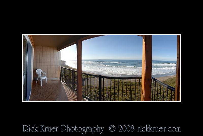 Ocean View from Cavalier Condo Balcony (Remodeled)<br /> November 2008<br /> <br /> Copyright © 2008 Rick Kruer<br /> rickkruer.com<br /> <br /> D200_20081126_1409_DSC_8034--8039-CavBalconyPanBlackFrame-4.psd