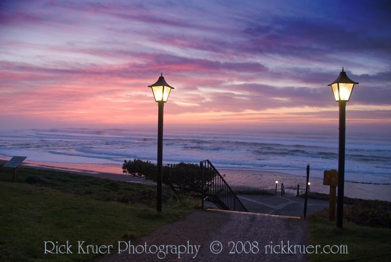 Sunset on the Oregon Coast, Cavalier Entrance to the Beach<br /> November 2008<br /> <br /> Copyright © 2008 Rick Kruer<br /> rickkruer.com<br /> <br /> D200_20081126_1757_DSC_8141-SunsetCavWalkway-nice-2.psd
