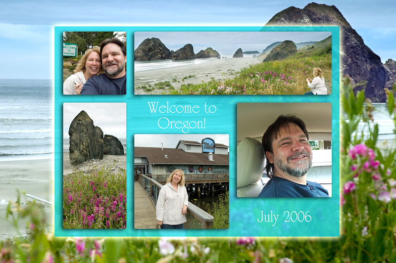 """Montage of """"Welcome to Oregon"""" and Cape Sebastian, Oregon photos: background is 4444, clockwise from upper left: 4408, 4447, P7100315 (Eileen's), 4466 and 4420. <br /> <br /> Thanks to photoshopelementsuser.com for the montage idea!<br /> <br /> July 2006<br /> <br /> Copyright © 2006 Rick Kruer rickkruer.com (rick@kruer.name)<br /> <br /> ND70_2006-07-11DSC_4444-4408-4447-4420-4466-P7100315-WelcomeToOregonPhotoMontage-5 copy.jpg"""