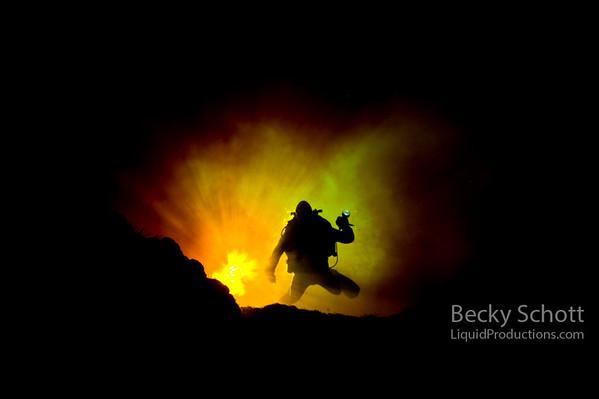 Fire underwater