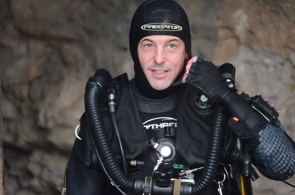 Explorer Andrew Pitkin prepares for a push dive beyond the end of the know cave limits.