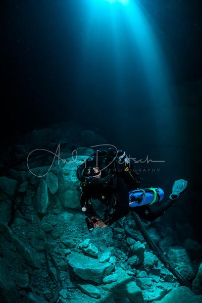Rebreather Diver in Sunbeams