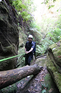 Michael at the start of a neat 12m drop into a dark hole.