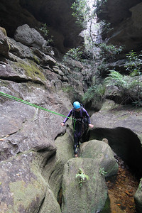 Anna on the first of the abseils in the canyon itself.