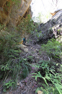 Anna coming down the Hole in the Wall exit track, which is the entry point to the canyons on the other side of Dingo Creek (North Bungleboori).