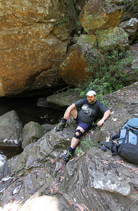 Rod Smith wondering if we would let him relax on the rock for a few hours while the rest of us went off to do the canyon...