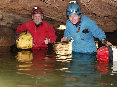 And this is the shot he was waiting for - Andrew and Melissa enjoying the wet and very cold introduction to Croesus! Photo by Garry K. Smith.