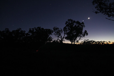The only clear skies of the trip... 5am Monday morning, graced by Venus and the moon above a still smouldering campfire.