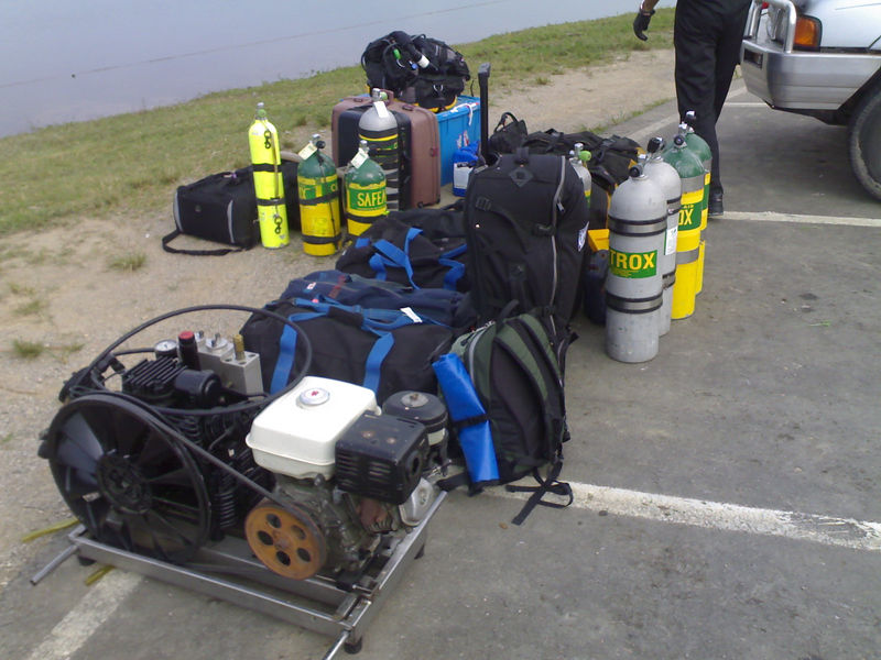 All our crap. sorry 'tech diving gear' for our cave hunting trip.<br /> <br /> At this remote spot we have to bring all the gear