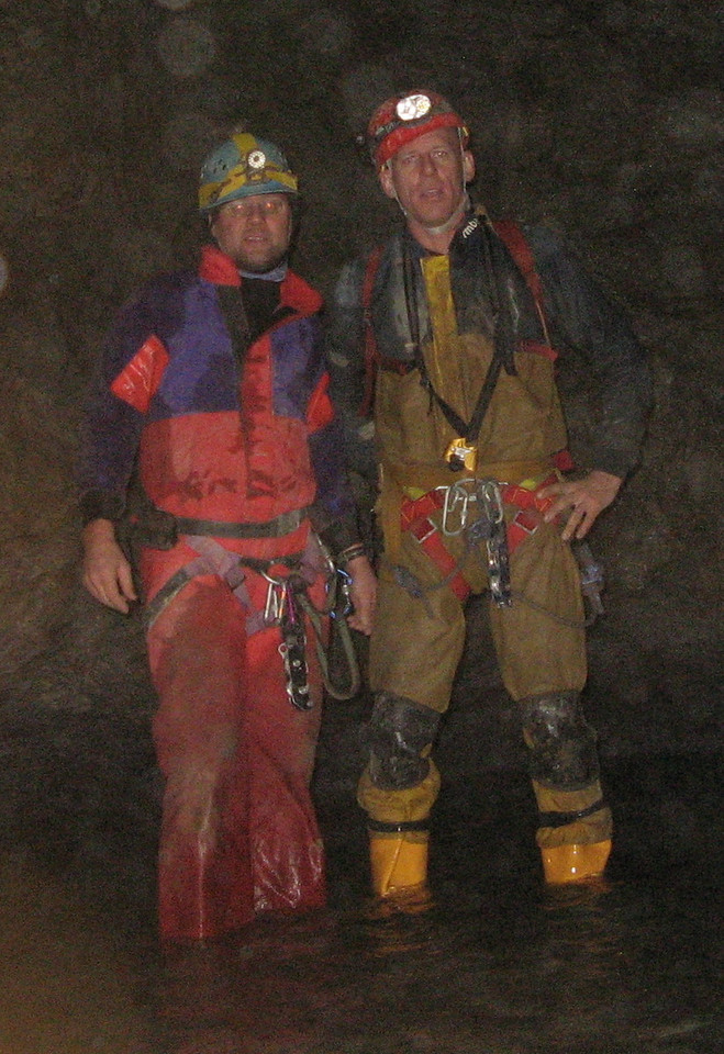 after descending 30m waterfall on way out of cave, cold wet and muddy