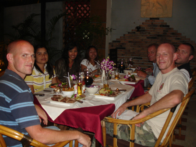 Dave, Alex and Ben with thier partners and me..with my um....mixed grill :-)