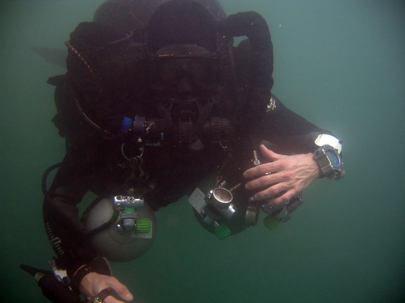 During deco after 150m dive