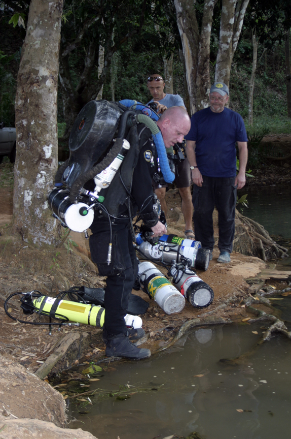 Preparing for dive with my homemade twin rebreather