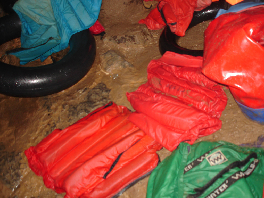 selection of bouyancy aids to help swim across the underground lakes