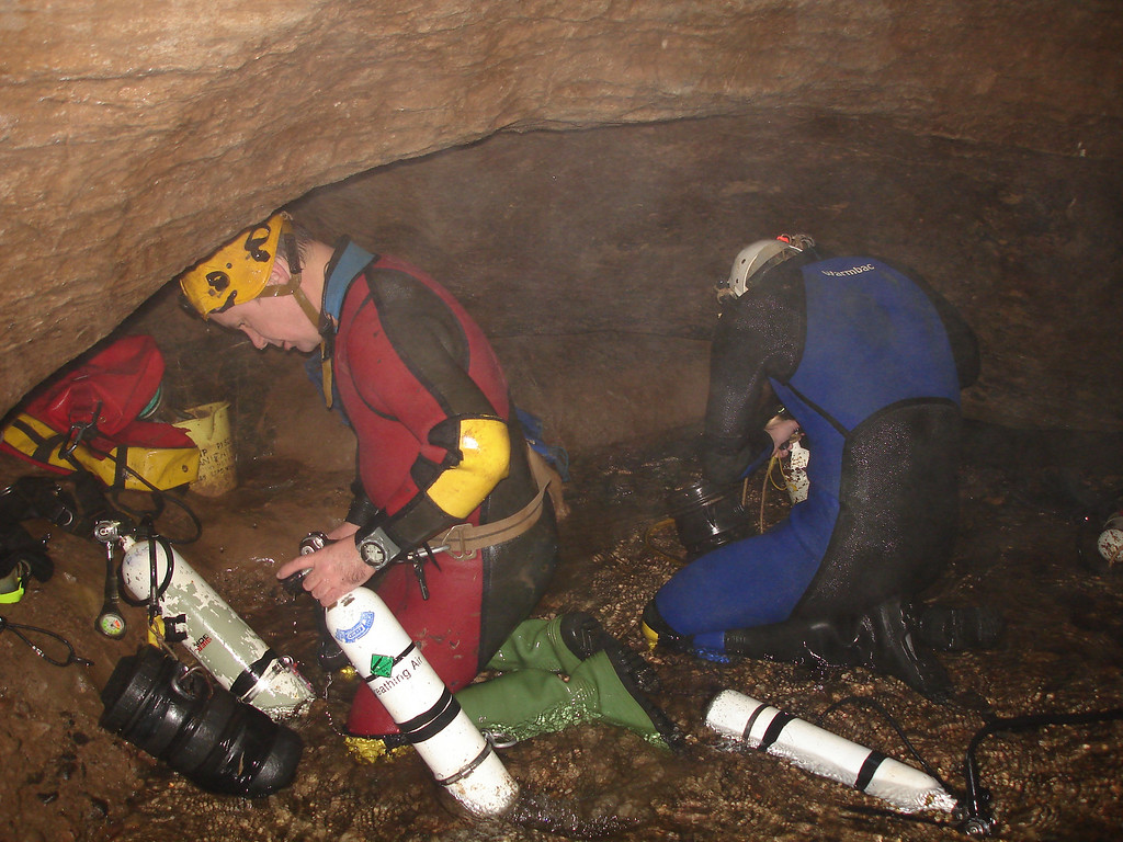 stripping out of the diving gear at sump2 ready for climb out