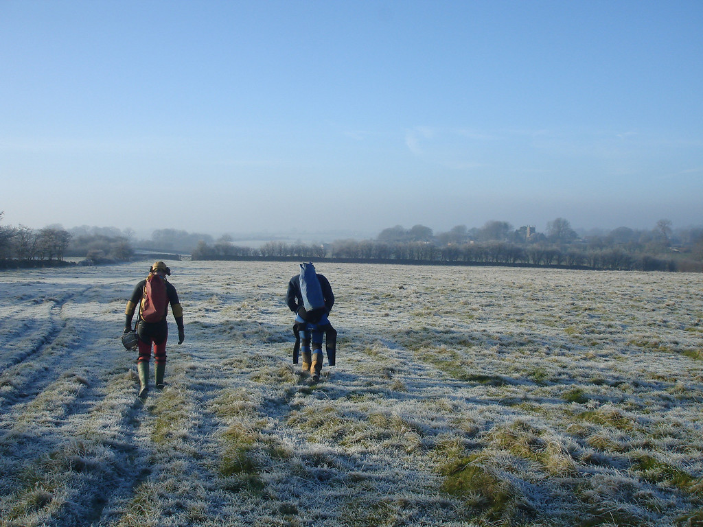 Duncan, John and me take an early morning hike over frosted fields to Swildons cave.  its going to be a lot colder 5hrs laterwhen we emerge wearing wet wetsuits.