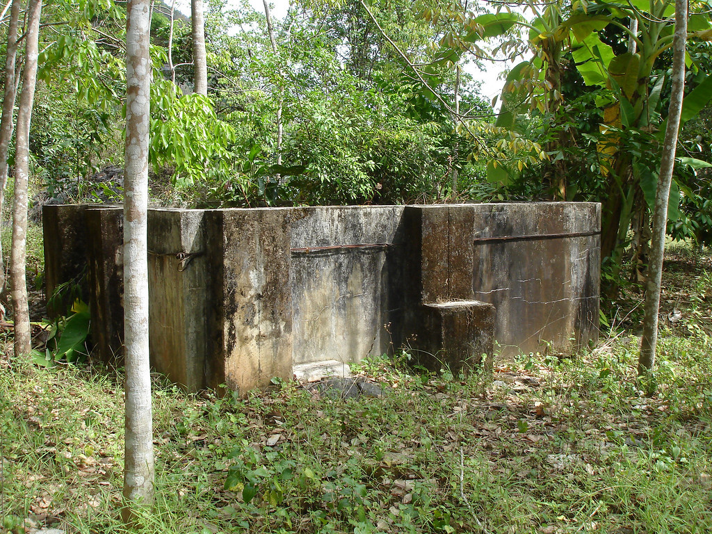 Part of old mining structures (jn this case a water storage tank) outside enterance