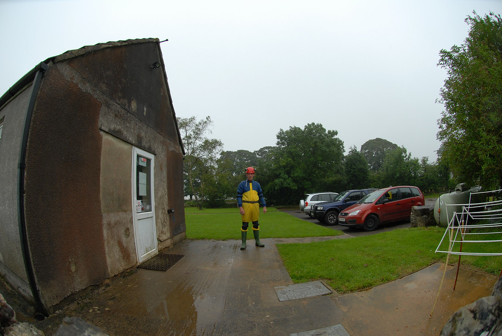 Outside Wessex hut ready to go caving