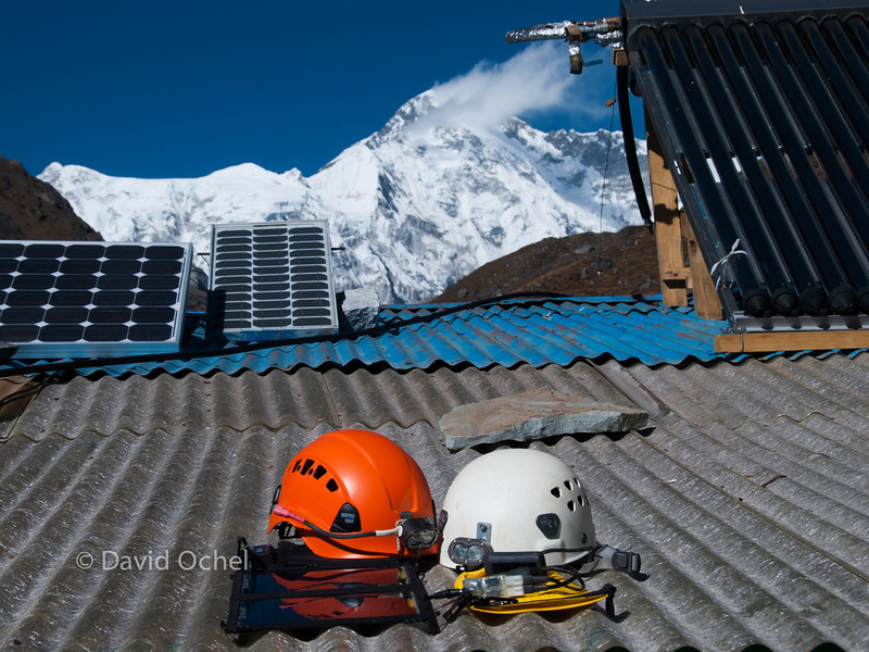 Sten light 12 V charger prototype worked beautifully with my solar panel. Cho Oyu in the background.