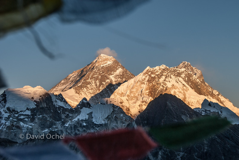 Everest and Lothse, seen from Gokyo Ri at sunset.
