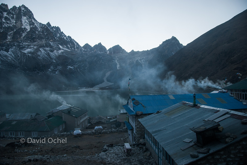 Gokyo at dusk, with the yak dung-powered ovens up and running.