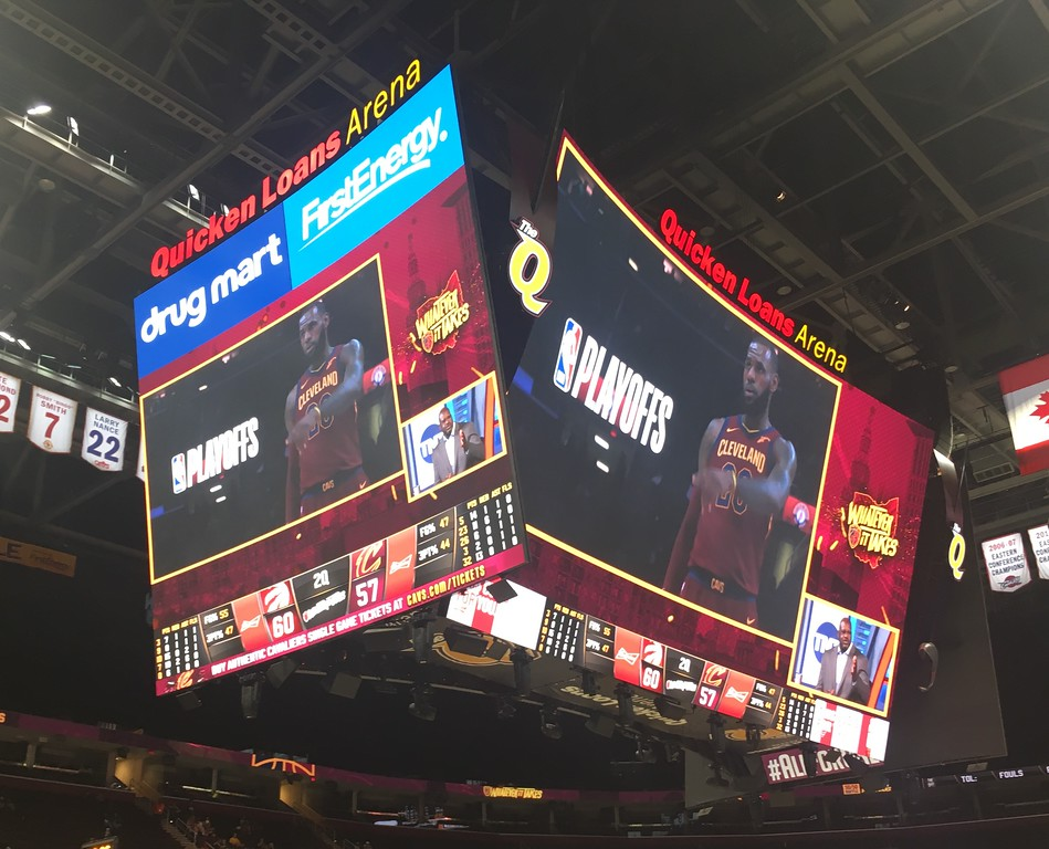 . Humongotron video board at Quicken Loans Arena. David S. Glasier - The News-Herald